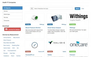 Wearablesandapps.com hosts a free directory of devices for remote care.